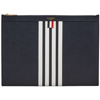 Thom Browne Four Bar Leather Medium Zip Document Holder Blue