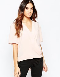 Asos Short Sleeve Drape Wrap Blouse Blush