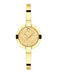 Movado Bela Crystalized Goldtone Stainless Steel Bangle Bracelet Watch