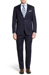 Men's Big And Tall Hart Schaffner Marx Classic Fit Stripe Wool Suit Navy