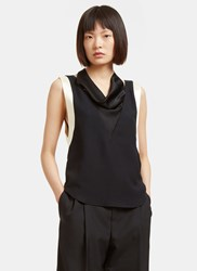 Lanvin Satin Draped Sleeveless Top Black