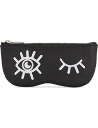 Rebecca Minkoff Winking Eye Leather Sunglasses Pouch Black
