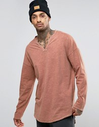 Asos Oversized Longline Long Sleeve T Shirt In Textured Fabric With Grandad Collar Brown