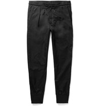 Paul Smith Tapered Cotton Blend Satin Drawstring Trousers Black