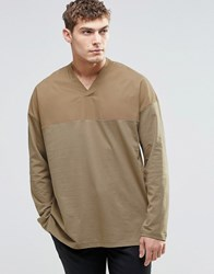Asos Oversized Long Sleeve T Shirt With Woven Yoke Panel Tan Brown