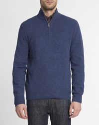 Hackett Blue Denim Contrast Elbow Patch Semi Zip Up Logo Jumper