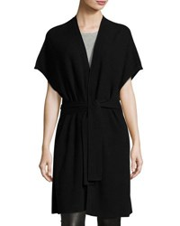 Vince Textured Belted Long Cardigan Black