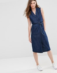 Only Long Trench Denim Dress Dark Blue