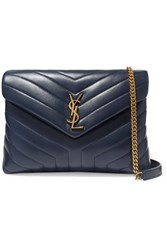 Saint Laurent Loulou Medium Quilted Leather Shoulder Bag Navy