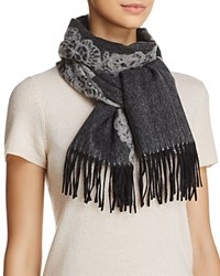 Bloomingdale's C By Lace Cashmere Scarf 100 Exclusive Silver