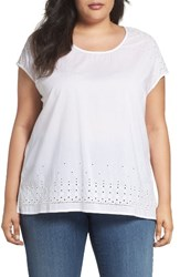Sejour Plus Size Women's Eyelet Embroidered Top