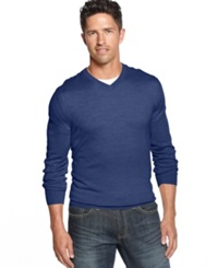 Club Room Big And Tall Merino Blend V Neck Sweater Crew Blue Heather