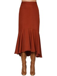 Johanna Ortiz Flared Cotton Drilled Midi Skirt Dark Red