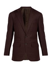 Thom Sweeney Single Breasted Wool And Cashmere Blend Blazer Burgundy