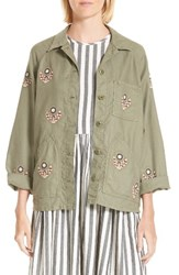 The Great Women's Great. Field Jacket Willow Green W Flower Emb