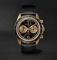 Bell And Ross Br V2 94 Bellytanker Limited Edition Automatic Chronograph 41Mm Bronze Leather Watch Black