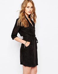 Maison Scotch Party Dress With Mesh Sleeves Navy