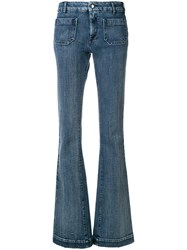 The Seafarer Panel Detail Flared Jeans Cotton Spandex Elastane Blue