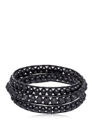 Colana Onyx And Lava Beads Triple Wrap Bracelet Black