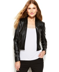 Calvin Klein Faux Leather Open Front Cropped Jacket Black