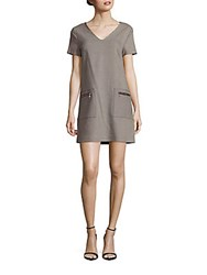 1.State Solid Patch Pocket Shift Dress Cement