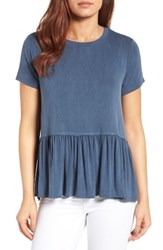 Bobeau Women's Short Sleeve Peplum Tee Denim Blue