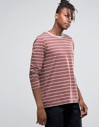 Asos Stripe Long Sleeve T Shirt Red Grey