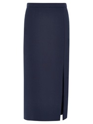 Viyella Column Crepe Skirt Navy