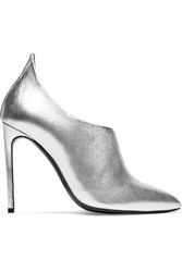 Tom Ford Metallic Textured Leather Ankle Boots Silver