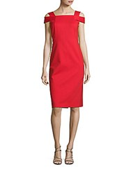 Lafayette 148 New York Cold Shoulder Sheath Dress Tango Red