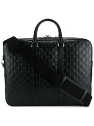 Gucci Logo Embossed Briefcase Black