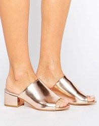 Truffle Collection Mid Heel Mule Rose Gold Copper