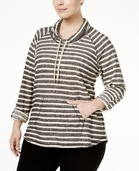 Styleandco. Style Co. Plus Size Striped Cowl Neck Top Only At Macy's Deep Black
