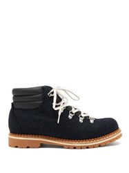 Montelliana Alberto Canvas And Leather Hiking Boots Navy Multi