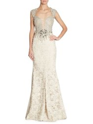 Alberto Makali Embellished Lace Gown Beige