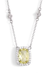Women's Lafonn 'Aria' Square Pendant Necklace Silver Lemon Quartz