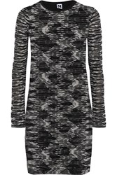M Missoni Jersey Paneled Crochet Knit Mini Dress Black