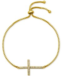 Giani Bernini Cubic Zirconia Cross Adjustable Bracelet In 18K Gold Plated Sterling Silver Or Sterling Silver Only At Macy's Yellow Gold
