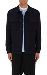 Margaret Howell Men's Wool Cotton Twill Shirt Navy