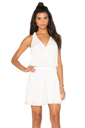 Krisa Surplice Flounce Dress White