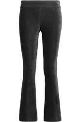 Bailey 44 Cropped Velvet Flared Pants Black