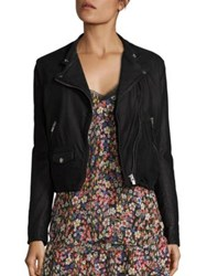 The Kooples Zippered Leather Jacket Black