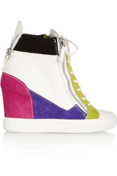 Giuseppe Zanotti Lorenz Leather And Suede Wedge Sneakers White