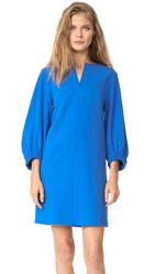 Tibi Structured Split Neck Shift Dress Elbe Blue