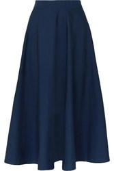 Aross Girl X Soler Alex Cotton Poplin Midi Skirt Navy