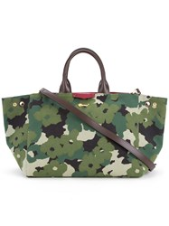 Muveil Floral Camouflage Print Tote Women Cotton One Size Green