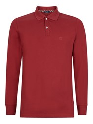 Aquascutum London Hilton Long Sleeve Polo Shirt Red