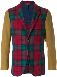 Fortela Tartan Fitted Blazer Cotton Polyester Wool Red