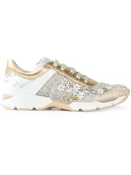 Rene Caovilla Floral Lace Embroidered Sneakers Metallic
