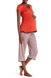 Majamas Lacey Cropped Nursing Pajama Set Maternity Red